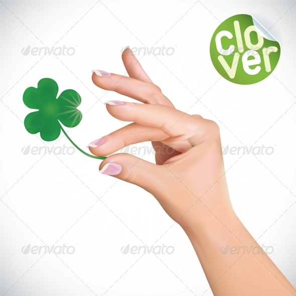 GraphicRiver Hand Holding Clover Illustration 6012508
