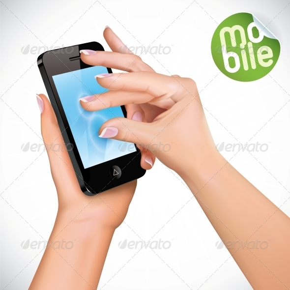 GraphicRiver Vector Hand Holding Mobile Phone 6012513