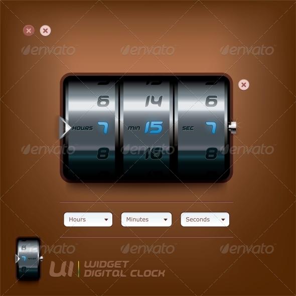 GraphicRiver Digital Clock Illustration 6012798