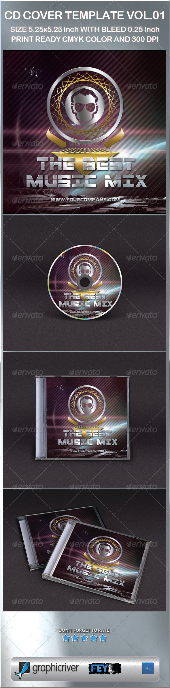 cd sleeve printing template - cd cover template graphicriver