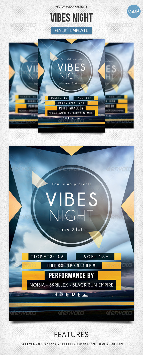 GraphicRiver Vibes Night Flyer [Vol.4] 6013781