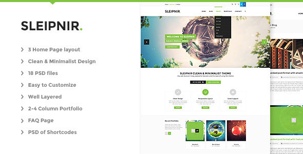 Sleipnir is a very clean and minimal designed PSD template for multi purpose, suitable for any business. The PSD files were made in Adobe Photoshop CS6, and sh