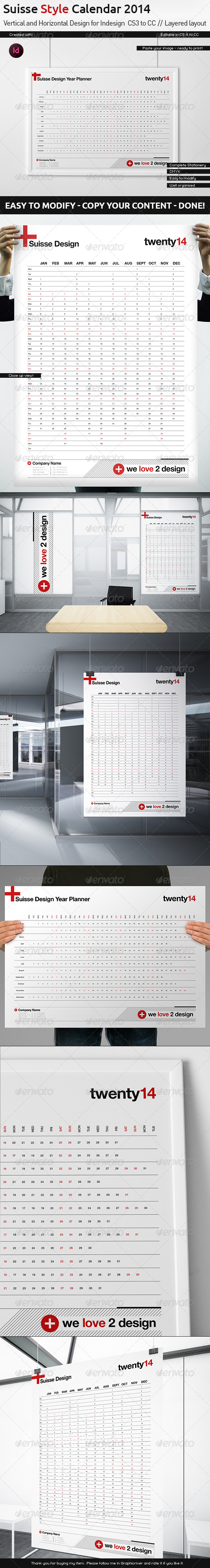 GraphicRiver Year Wall Planner 2014 Swiss Design 6014049