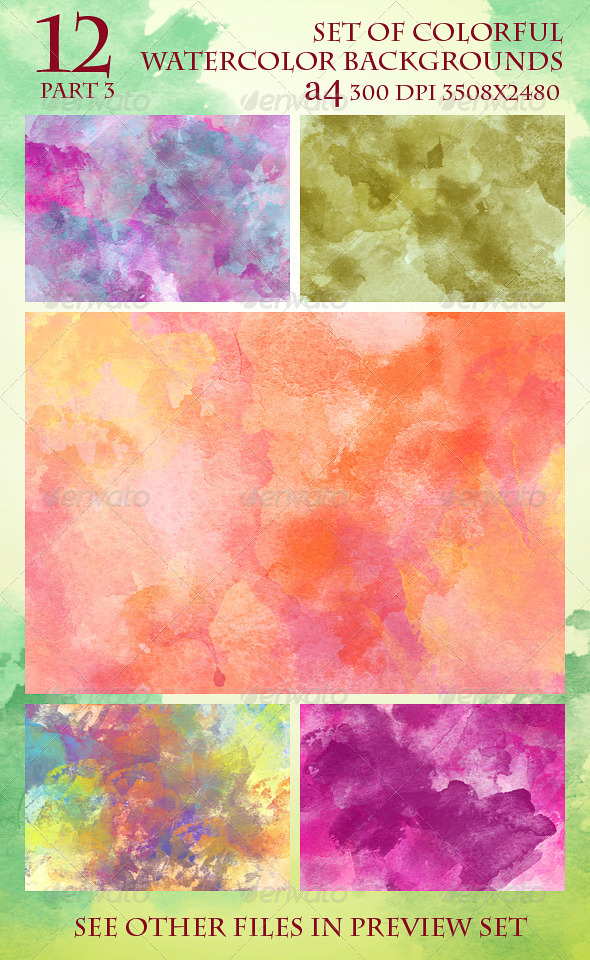GraphicRiver Set of 12 Colorful Watercolor Backgrounds 3 6014229