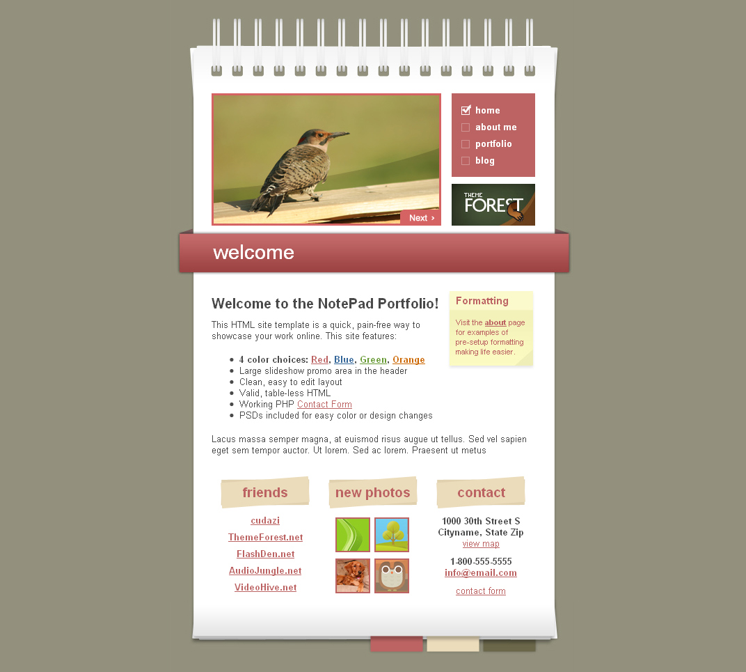 NotePad / Notebook Site Template - Home Page example.