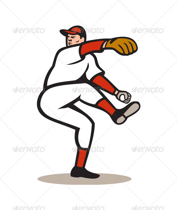 GraphicRiver American Baseball Pitcher Throwing Ball Cartoon 6015039