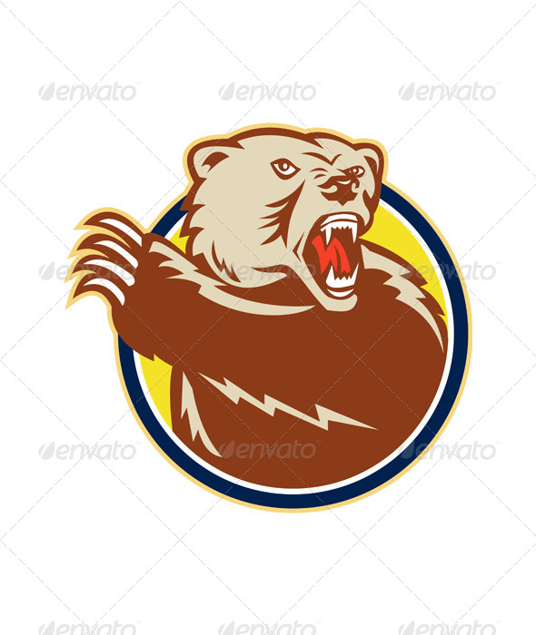 GraphicRiver Grizzly Bear Swiping Paw Retro 6015076