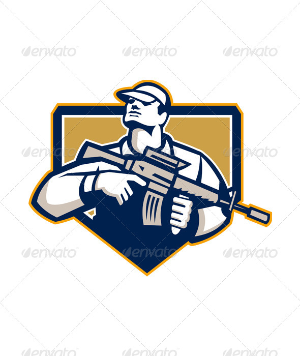 GraphicRiver Soldier Military Serviceman Assault Rifle Retro 6015100