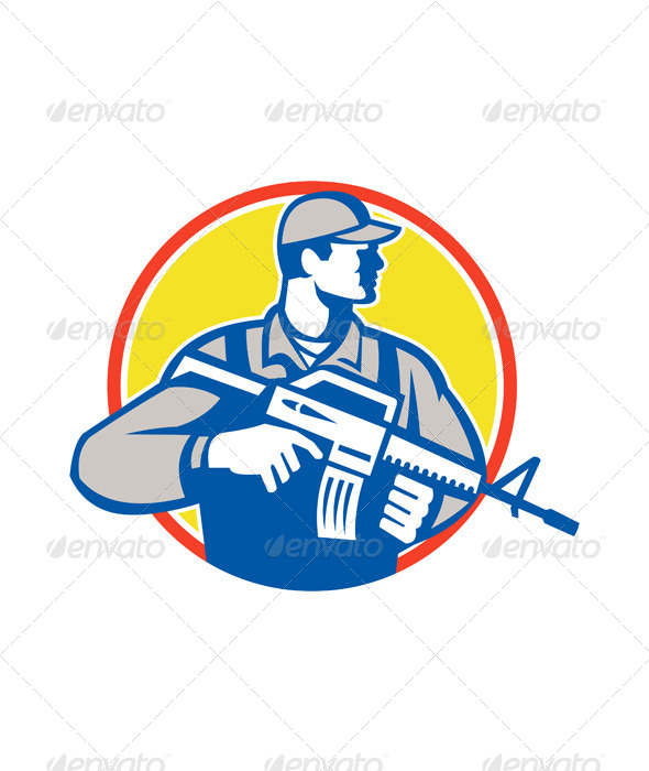 GraphicRiver Soldier Military Serviceman Assault Rifle Side Retro 6015101