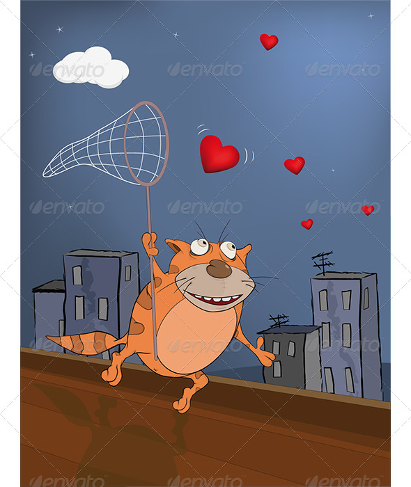 GraphicRiver Cat and Hearts Cartoon 6015116