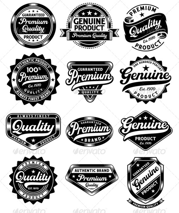GraphicRiver Set of Premium Quality and Genuine Vintage Labels 6015254
