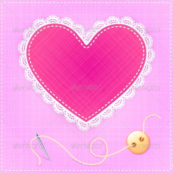 GraphicRiver Red Textile Heart with Lace Needle and Button 6015371