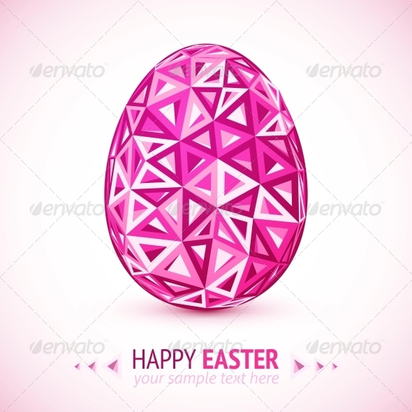GraphicRiver Abstract Geometry Triangles Pink Easter Egg 6015388