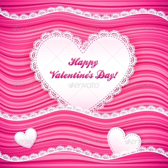 GraphicRiver Vector Pink Wavy Valentine s Day Background 6015393