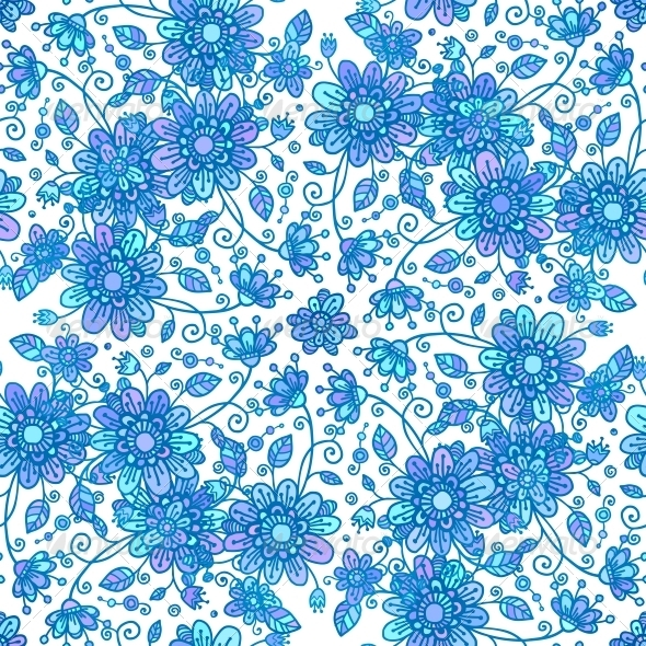 GraphicRiver Blue Line Drawn Flowers Seamless Pattern 6015437