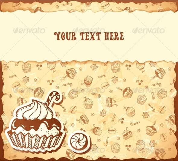 GraphicRiver Hand-Drawing Card from Seamless Cupcake Pattern 6015508
