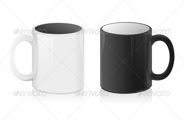 GraphicRiver Vector Black and White Mug Cup 6015526