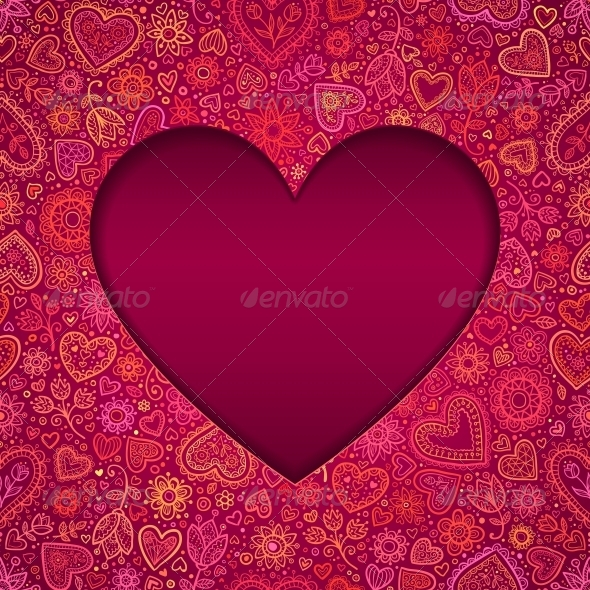 GraphicRiver Cut Out Paper Heart Valentines Day Card 6015607