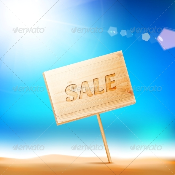 Wooden Board with Sale Text