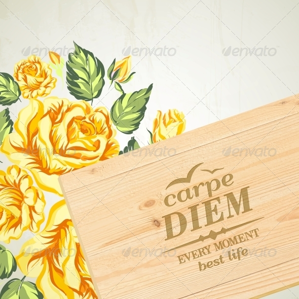 GraphicRiver Stylish Wooden Plaque with the Text Carpe Diem 6017628