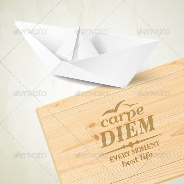 GraphicRiver Stylish Wooden Plaque with the Text Carpe Diem 6017736