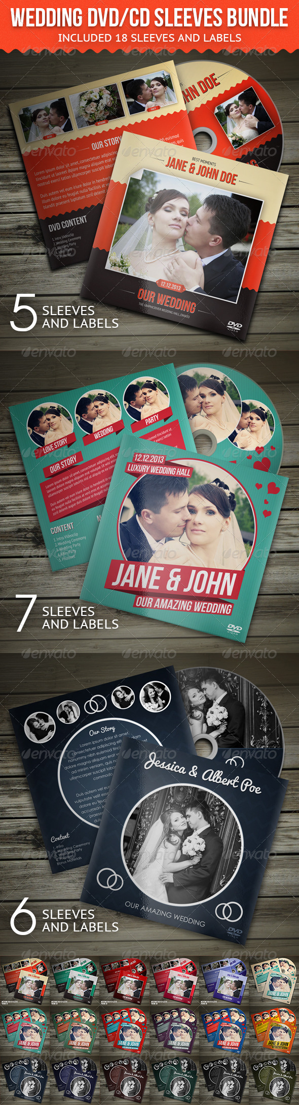 Wedding DVD / CD Sleeves Bundle - CD & DVD artwork Print Templates