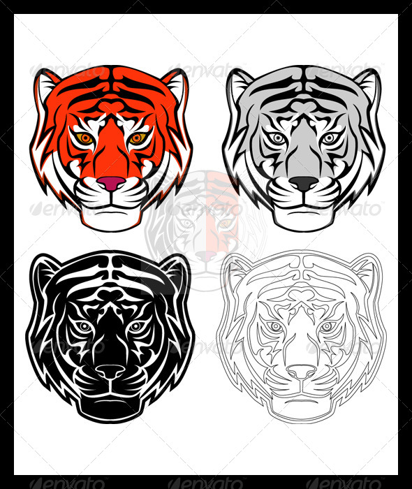 GraphicRiver Tiger Head Illustration Set 6018013