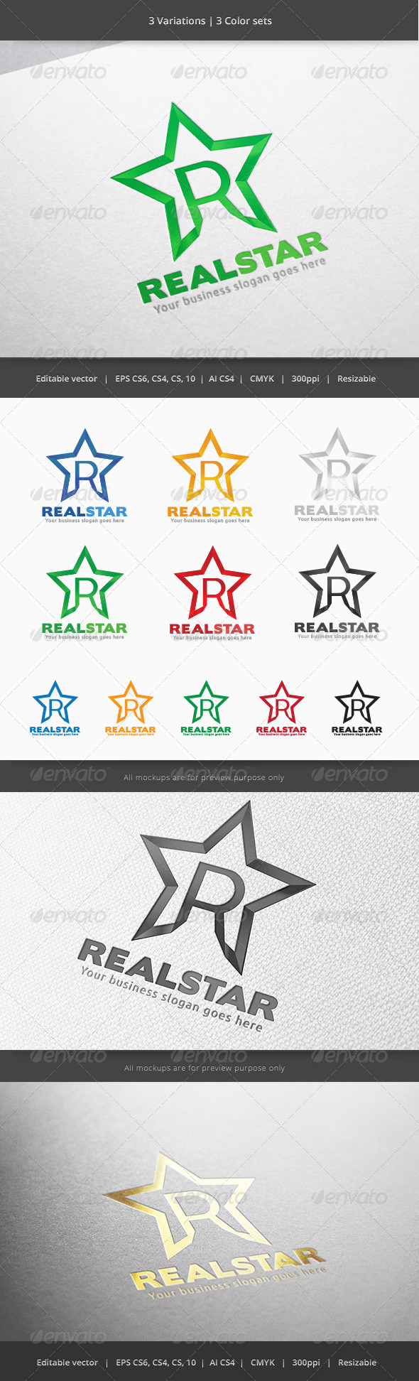Real Star Letter R Logo