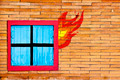 Wall brick with window in  fire - PhotoDune Item for Sale