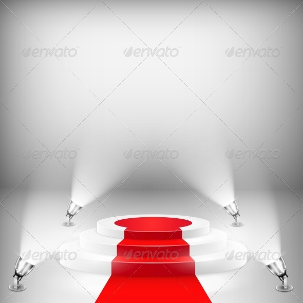GraphicRiver Illuminated Podium with Red Carpet 6019075