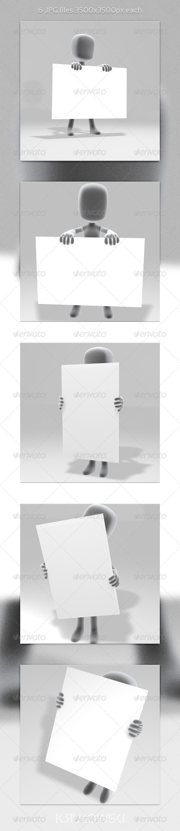 GraphicRiver White Man with a Sign 5783538