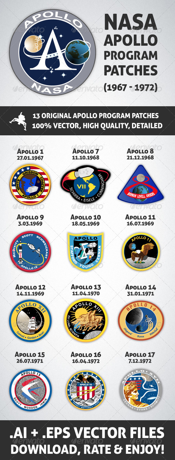 13 NASA Apollo Program Patches - Retro Technology