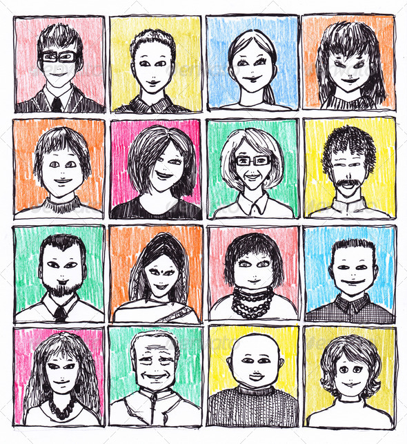 Drawn Faces - Stock Photo - Images