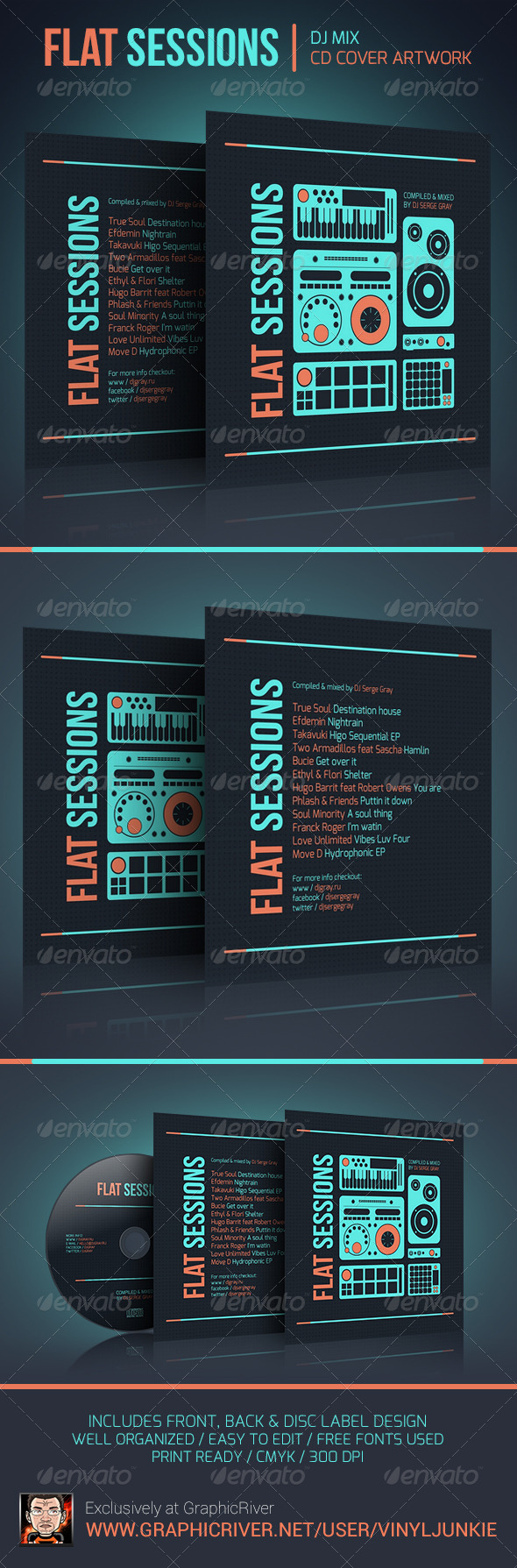 GraphicRiver Flat Sessions DJ Mix CD Cover Artwork 6021444