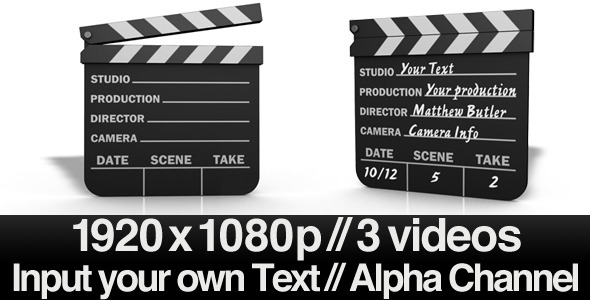 Movie Clapper Board Series of 3 & Alpha & AE File