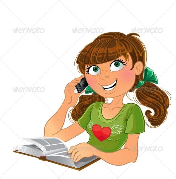 GraphicRiver Girl and Phone and Book 6021998