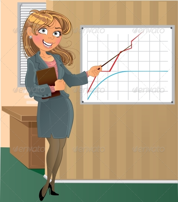 GraphicRiver Woman with Pointer in Office 6022101