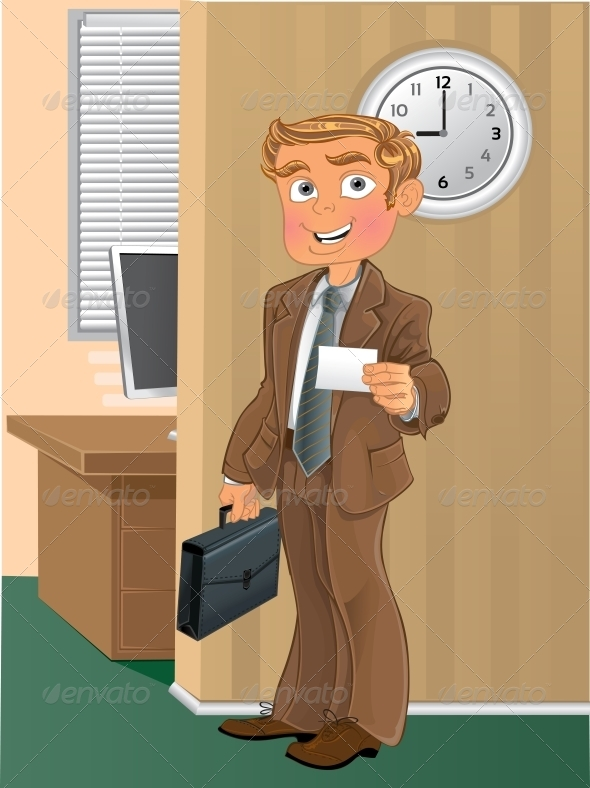 Man with Business Card in Office