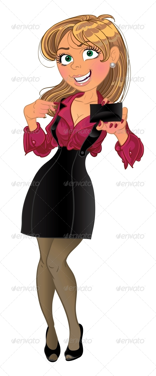 GraphicRiver Woman holding Business Card 6022207