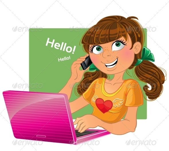 GraphicRiver Brown-Haired Girl with Phone and Pink Laptop 6022260
