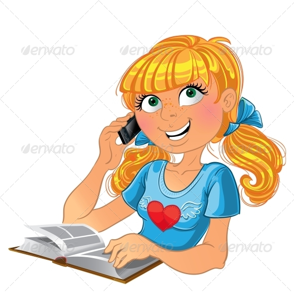GraphicRiver Girl and Phone and Book 6022362
