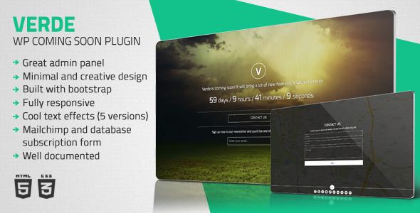 CodeCanyon Verde Responsive WordPress Coming Soon Plugin 5925397
