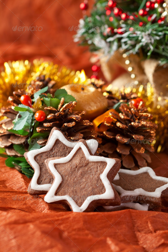 chocolate Christmas cookies and Christmas decorations - Stock Photo - Images