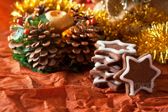 chocolate Christmas cookies on a Christmas tree background - Stock Photo - Images