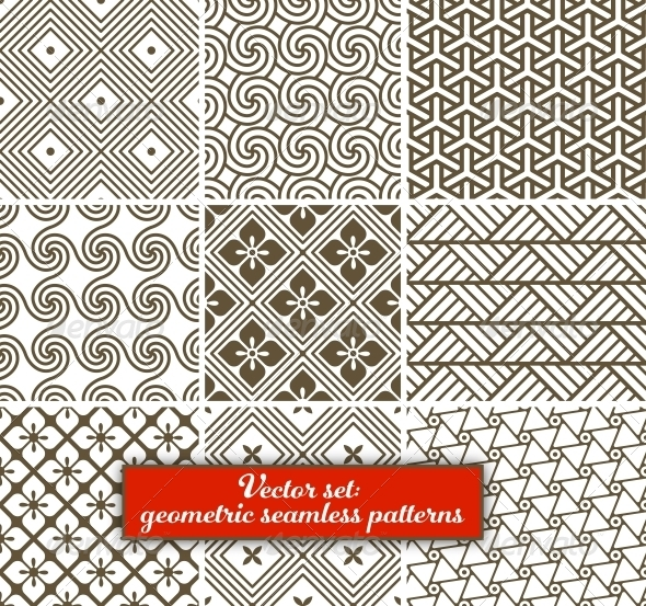 GraphicRiver Vector Set 9 Geometric Seamless Patterns 6023046