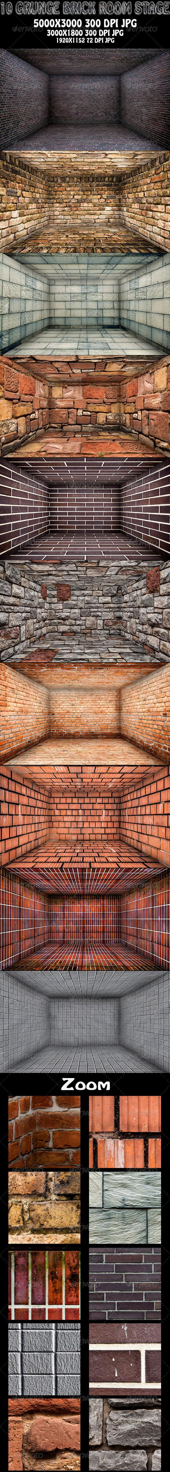 GraphicRiver 10 Grunge Brick Room Stage 6023169