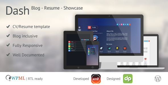 ThemeForest Dash Resume vCard Blog Personal Template 6023407