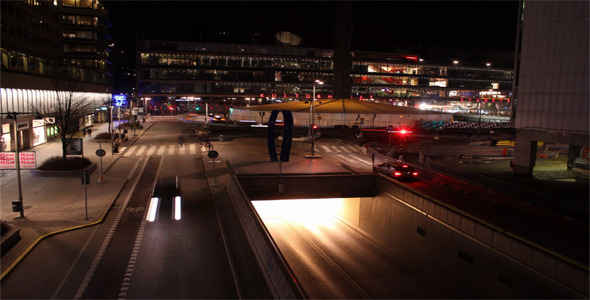 Night Traffic Sergels Torg Time Lapse