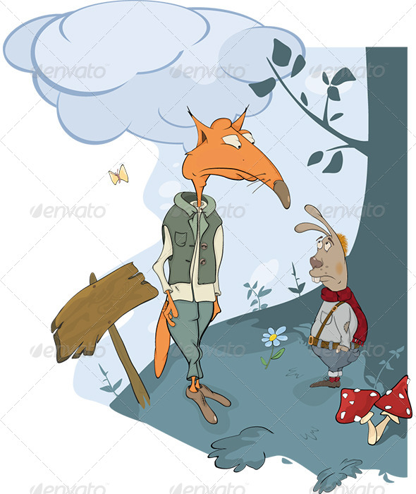 GraphicRiver Foxes and a Rabbit Meet in Woods Cartoon 6024668