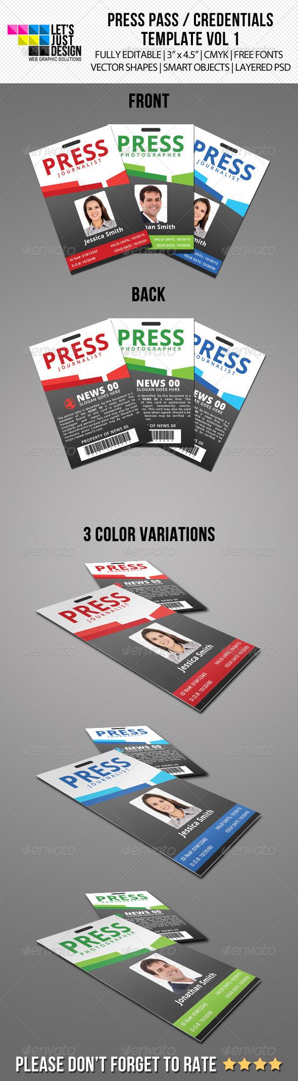 press pass credentials template vol 1 graphicriver. Black Bedroom Furniture Sets. Home Design Ideas